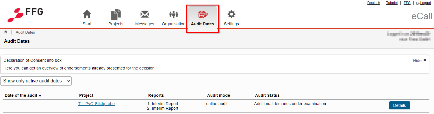 The tab Audit dates is located in the horizontal main navigation
