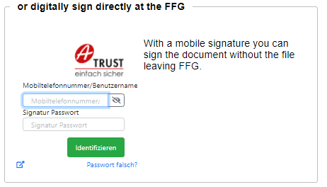 Entering the telephone number and the signature password when using the cell phone signature